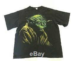 Vtg 1995 Star Wars Yoda Noir Ss Changements T-shirt Big Graphic Taille XL Made In USA